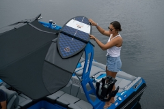 Bimini Top with Surfboard Pockets on the 2021 Nautique GS22 Wake Boat
