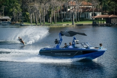 Slalom Skiing Behind the 2021 Nautique GS22 Wake Boat