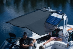 Bimini Top with Surfboard Pockets on the 2021 Nautique GS24 Wake Boat