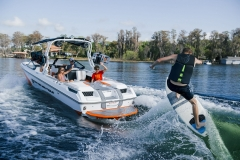 Surfing Behind a 2021 Nautique GS24 Wake Boat