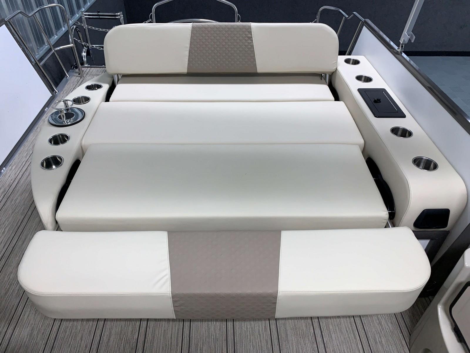 Cream Interior on the 2021 Premier 230 Solaris RL Tritoon Boat