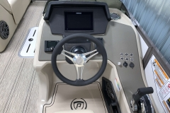 "Simrad's 9"" Touchscreen Display of the 2021 Premier 230 Solaris RL Tritoon Boat"