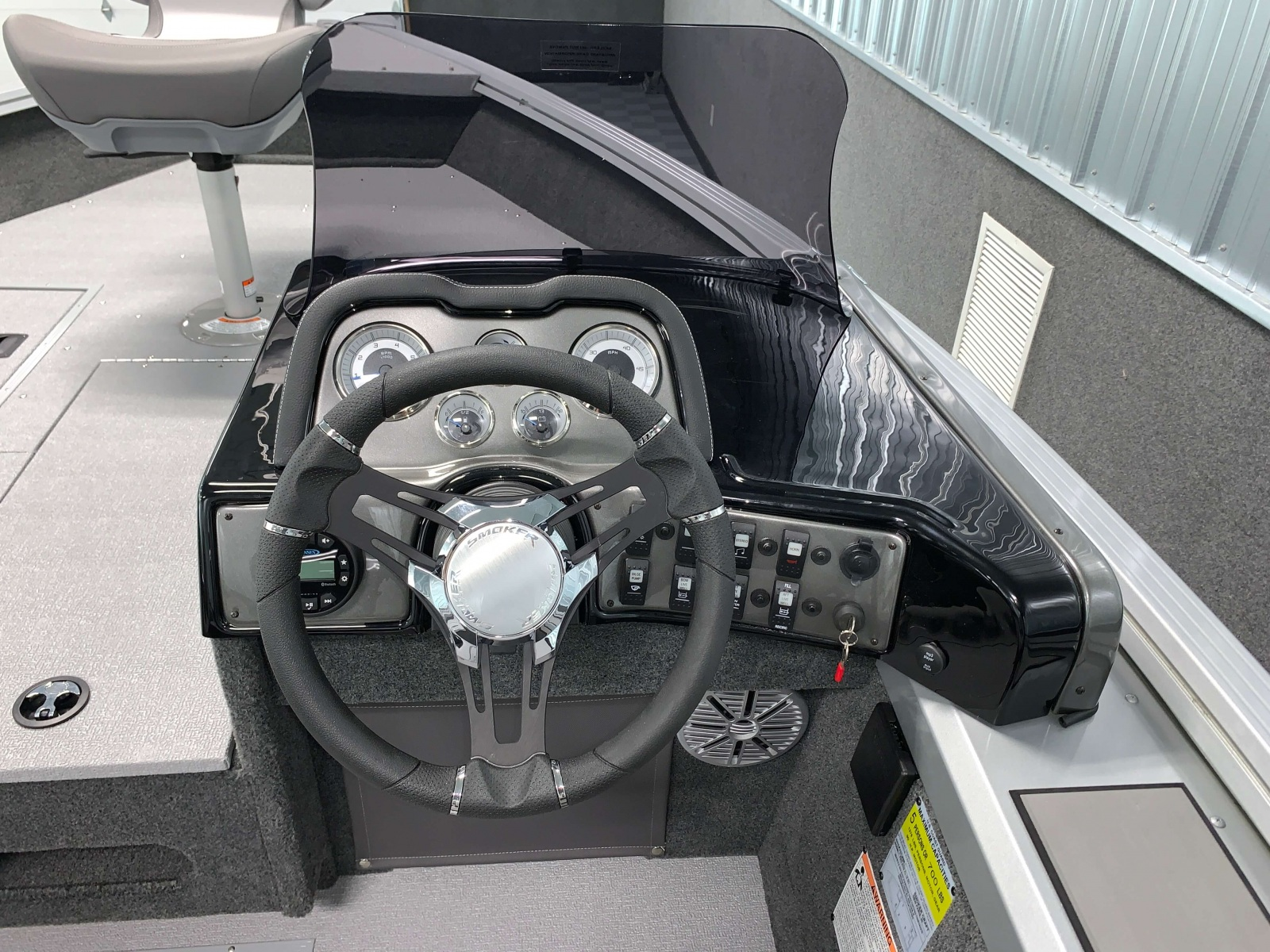 Drivers Console of the 2021 Smoker Craft 161 Pro Angler XL Fishing Boat