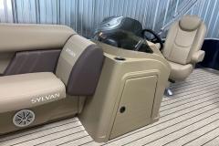 Helm Storage of the 2021 Sylvan Mirage 8520 Cruise Pontoon Boat
