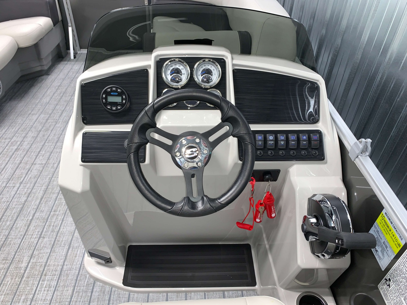 Fiberglass Console of a 2021 Sylvan Mirage 8520 Cruise Pontoon Boat