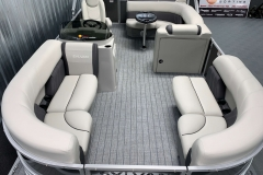 Teak Weave Vinyl Flooring of a 2021 Sylvan Mirage 8520 Cruise Pontoon Boat