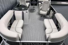 Teak Weave Vinyl Flooring on the 2021 Sylvan Mirage 8520 LZ Tritoon Boat