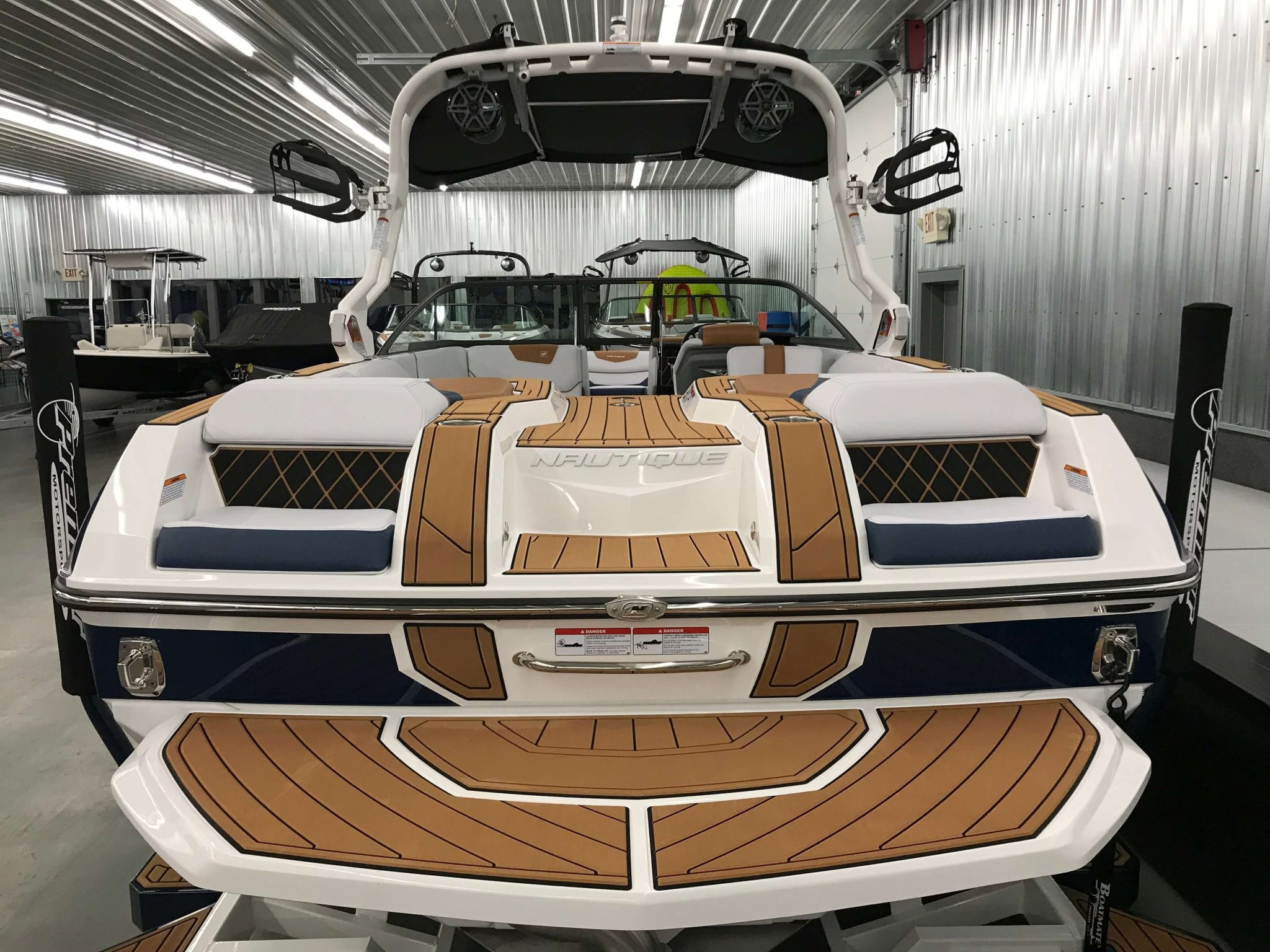 2019 Nautique GS22 Bimini Top Open Rear View 1
