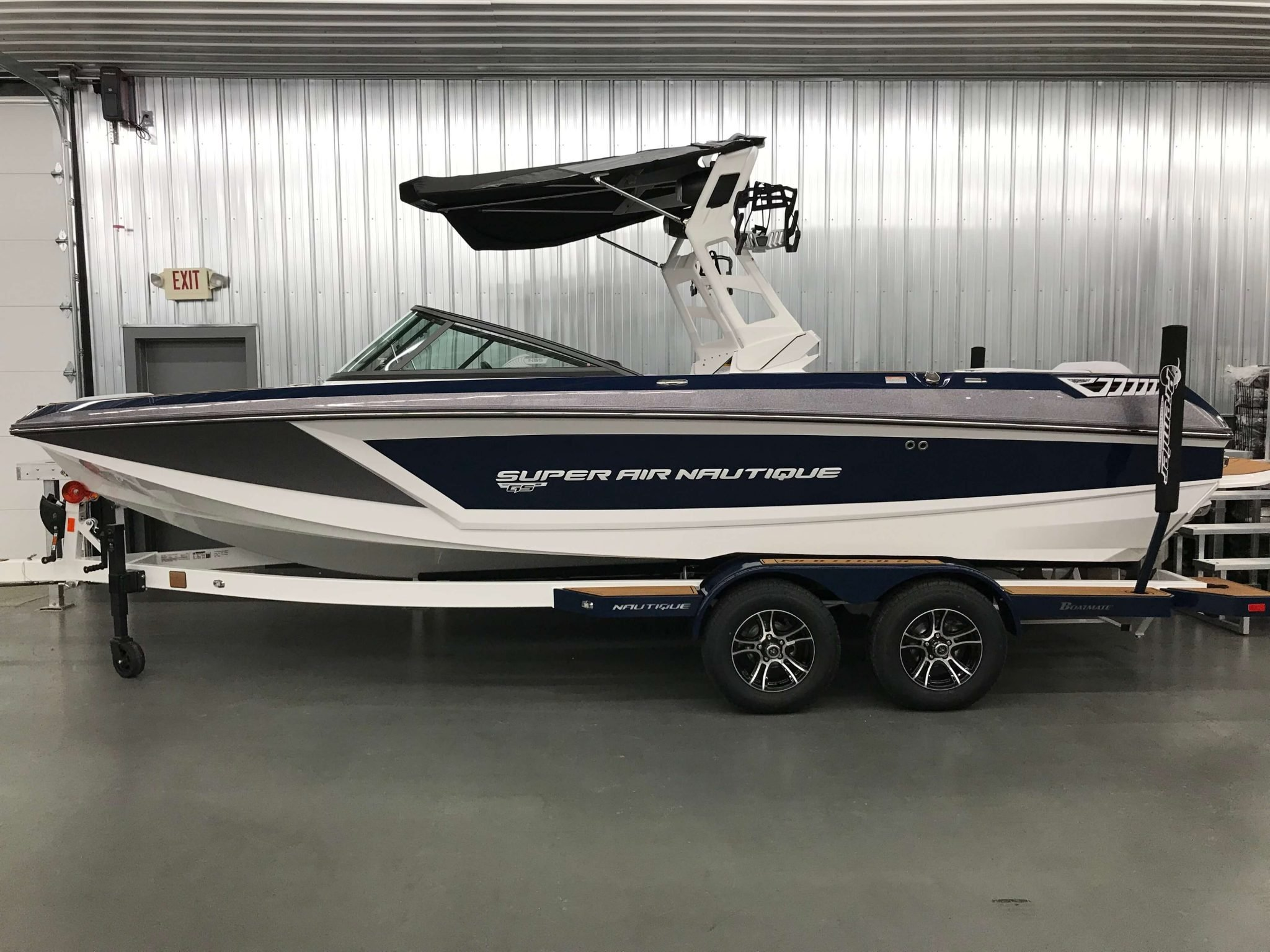 2019 Nautique GS22 Bimini Top Open Side View 1